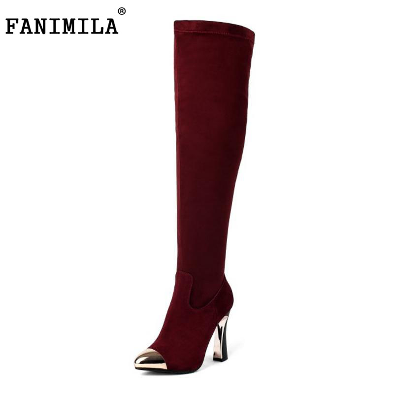 FANIMILA Sexy Winter Real Leather Shoes Women Thick High Heel Over Knee Long Boots Female Zip Pointed Toe Warm Botas Size 34-39 qiu dong in fashionable boots sexy and comfortable women s shoes the new national style high heel heel thick heel