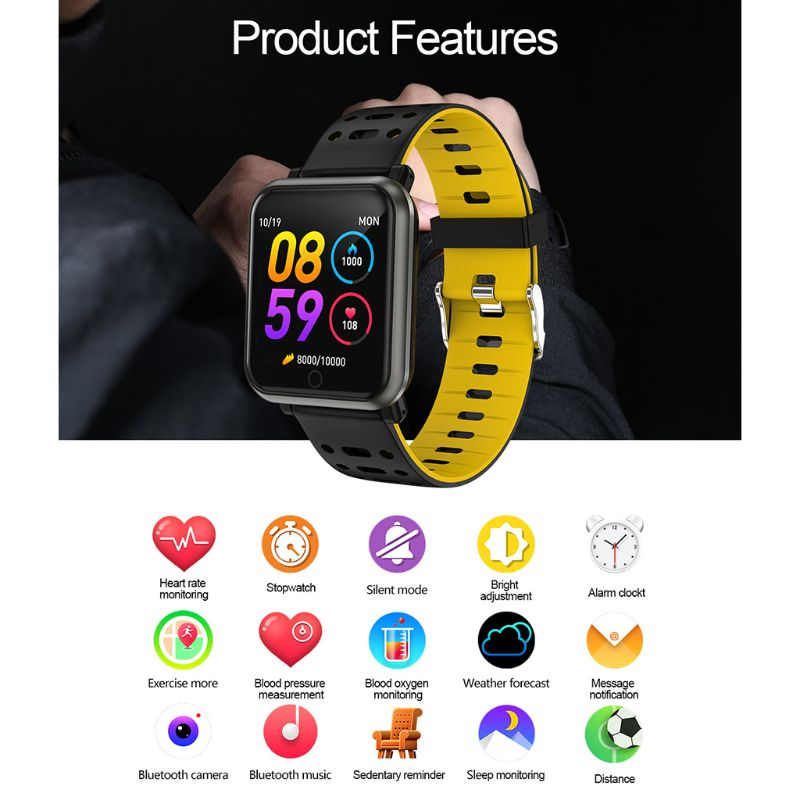 IP67 Waterproof P11 Colorful Screen Smart Bracelet Sports Wristband Heart Rate Blood Pressure Step Sleep Detection Fitness Track in Smart Wristbands from Consumer Electronics