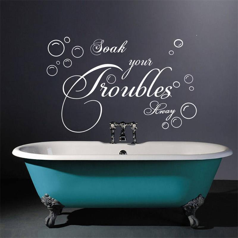 Bathroom wall sticker lettering soak your troubles away for Bathroom wall decor vinyl