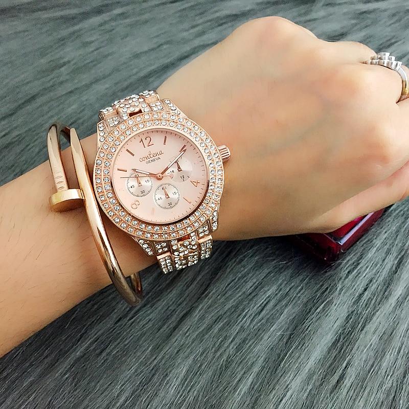 все цены на CONTENA Brand Fashion Rose Gold Watch Women Watches Luxury Rhinestone Ladies Watch Women's Watches relogio feminino montre femme