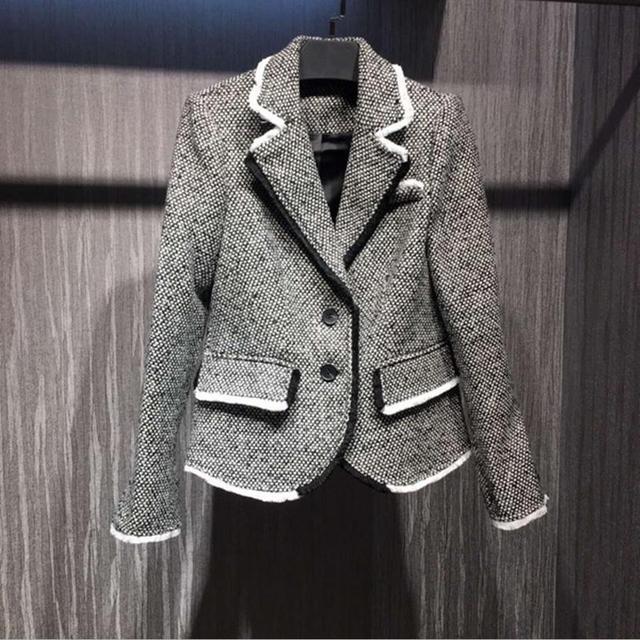 Grand europeia marca de moda blazer de lã terno slim das mulheres simples e elegante single-breasted blazer & ternos w1940
