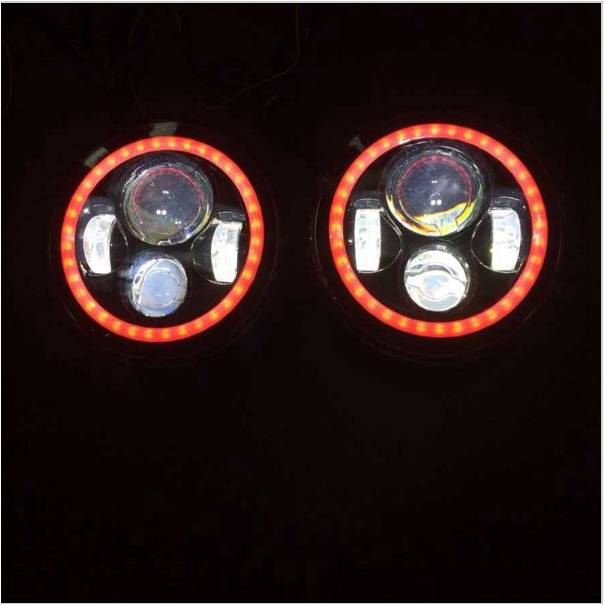 2pcs  7 Round 12V 24V high low beam Motorcycle led headlight replacement with halo ring angel eye for Jeep Wrangler pair for 7 inch round headlight 12v 24v dc high low beam and angel eye led for jeep wrangler jk tj harley davidson motorcycle