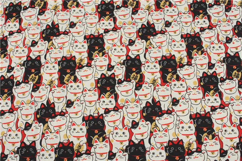 150 см * 50 Хлопок Ткань Японский мягкий бриз мультфильм кошка печати ткань, ручной работы DIY лоскутное рот золотой посылка ткань