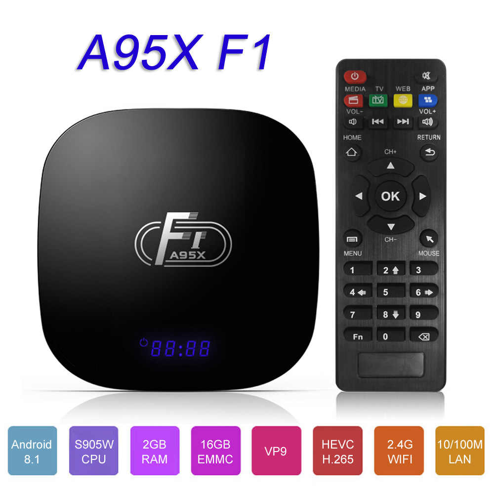 Docooler A95X F1 Android 8.1 Smart TV Box Amlogic S905W Quad Core 2GB 16GB Supporto H.265 4K 2.4GHz WiFi Media Player Set Top Box