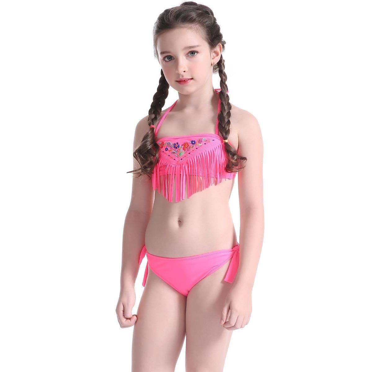 e7b53daef7 US $11.32 8% OFF|Girls Tassel Bikini Children Two Piece Swimsuit  Embroidering Floral Bikinis Sets for Teenagers Kids Swimwear Beach Bathing  Suit-in ...