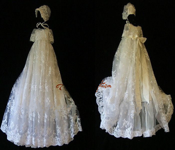 все цены на Real picture White/Ivory Lace With Bonnet Baby Dress Baptism Gowns for Boys and Girls christening gowns
