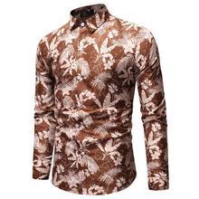 Flower Mens Dress Shirts Men's Shirt Plant Flower leaves Print Casual Long sleeve Fashion Hawaiian Blouse Men New casual flower print long sleeve shirt