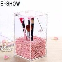 E-SHOW 1 pcs Tamanho Pequeno Caneta Organizador de Maquiagem de Acrílico Transparente DIY Brushes Cosmetic Case Holder Caixa Display (Sem Pérolas)