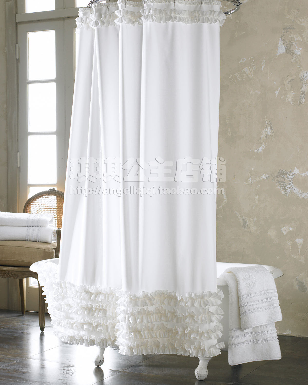 White ruffle shower curtain - Fashion Plain 2013 Fresh Shower Curtain Polyster White Handmade Ruffle Thickening Waterproof Eurepo Bath Shower Curtain