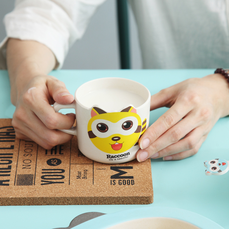 Children Tableware Bamboo Fiber Set Kids Cartoon Separation Feeding Plate Feeding Bowl Plate Dishes Fork Spoon Cup 5Pcs in Dinnerware Sets from Home Garden