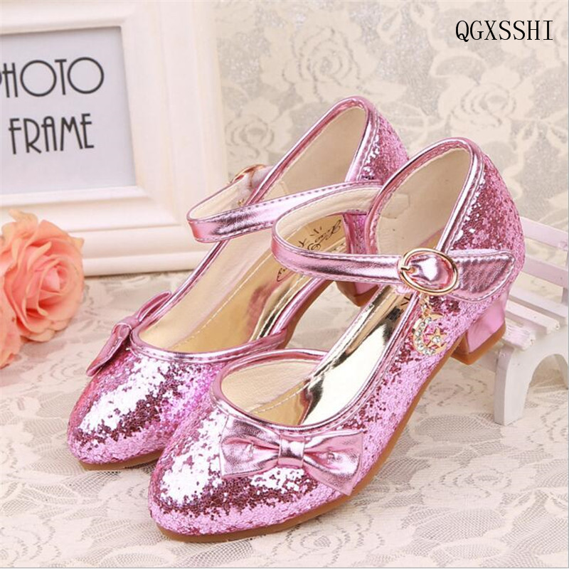 Kids Baby Girls PU Leather Princess Sandals Wedding Party High Heels Dress Shoes