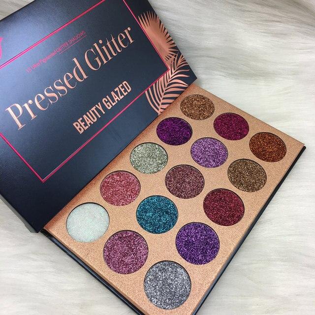 Belleza cristal maquillaje paleta 15 Color brilla inyecciones prensado de sombra de ojos paleta de hacer sombra de ojos imán paleta