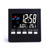 Multifunción Control de voz LCD pantalla termómetro reloj humedad Monitor pantalla Digital electrónica alarma reloj calendario