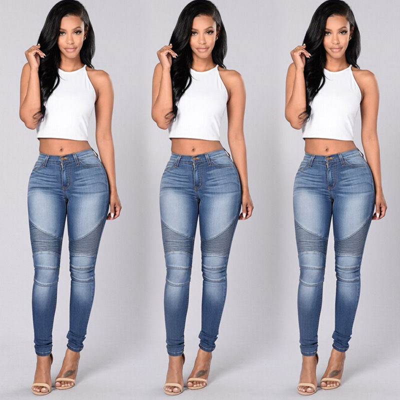 New Ladies Denim Stretch Cropped Trousers Women Pants Jeans Blue Size 10 12 14