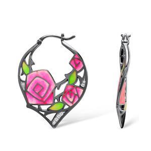 Image 3 - SANTUZZA pendientes de plata de primera ley y circón para mujer, aretes colgantes, plata esterlina 925, Circonia cúbica, Zirconia, circonita, zirconita, flor rosa, esmalte