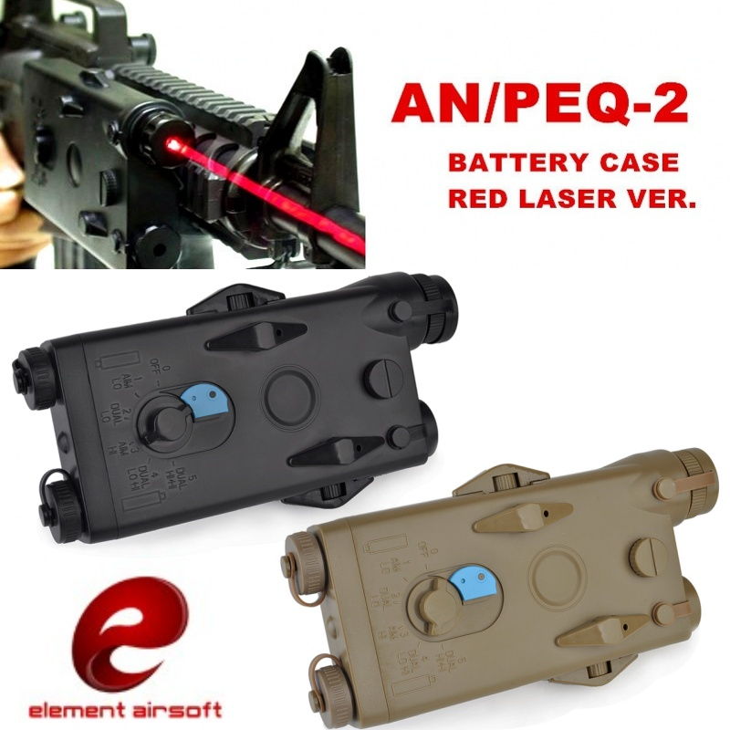 Element Airsoft AN/PEQ-2 Battery Case Red Laser Version Softair 20mm Rail Tactical PEQ Battery Box EX426