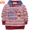 Spring Autumn New Baby Boys Long Sleeves Hoodies Bear Striped Shirt Kids Sweater Baby Boy Clothing Sweatshirt KC180