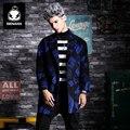 Genanx marca moda hombre abrigo de lana de lana fuera del hombro en la Tendencia De Suelta Abrigo de Lana Gruesa Capa Larga Hombres Jóvenes