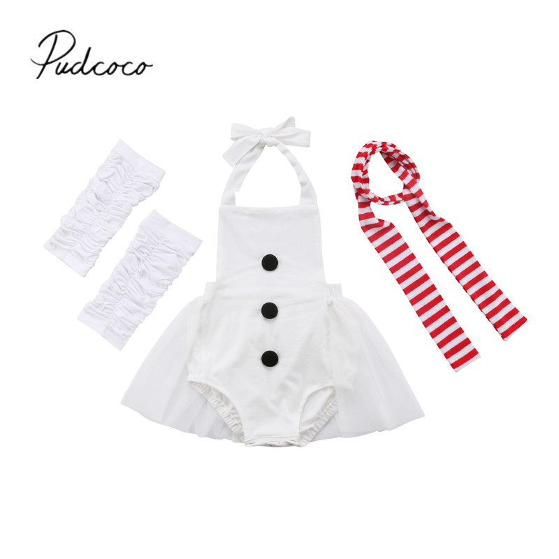2018 Brand New Snowman Newborn Toddler Baby Girls Clothes Sets 3pcs Sleeveless Lace White Romper Tops Leg Warmer+tie Outfit 0-3y Invigorating Blood Circulation And Stopping Pains Mother & Kids Girls' Clothing