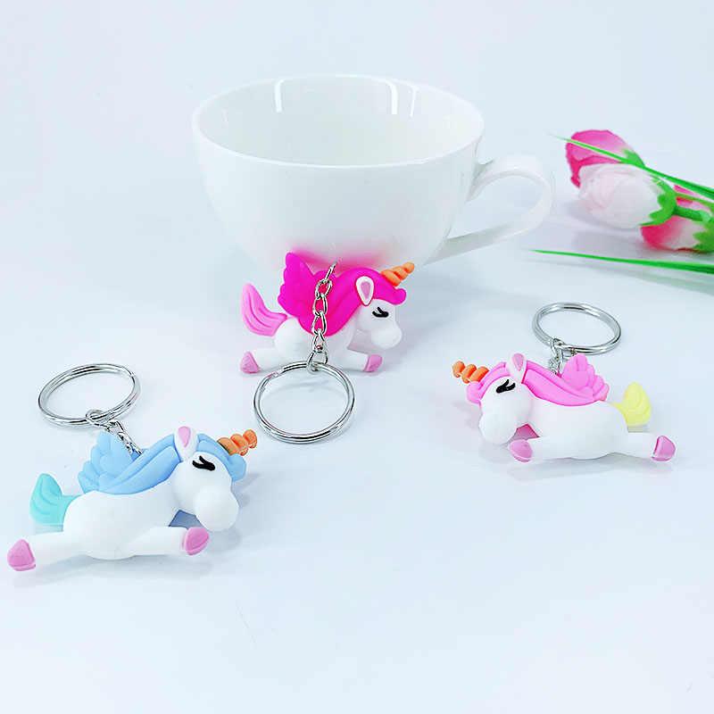 Новый ПВХ мягкий клей материал мультфильм Единорог стильный ключ подвесной кулон девочка сумка автомобиль ключ кулон Детские игрушки маленькие подарки
