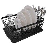 Kitchen Dish Drainer Drying Rack with Drip Tray and Storage Basket Kitchen Sink Organizer Shelf Sink Drying Rack Black