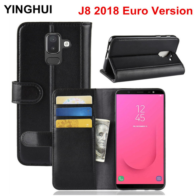 huge selection of 68294 eaf03 US $8.97 18% OFF|Genuine Leather Case for Samsung Galaxy J8 2018 Euro  Version Flip Cover Wallet Phone Cases Cover for J8 2018 Euro Version  Case-in ...