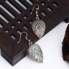 Vintage Europe Zinc Alloy Leaf Earring Bohemian Charm Gold Color Jewelry Party Gift Dangle Drop Earrings For Women Wholesale(China)