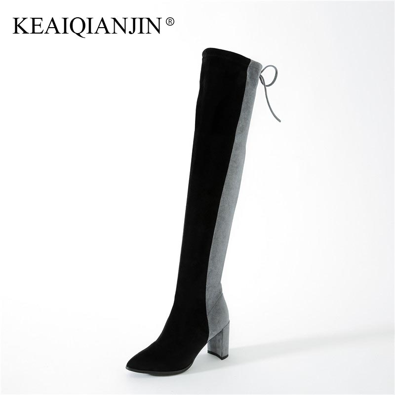 KEAIQIANJIN Woman Knee High Boots Autumn Winter High Heel Shoes Sheepskin Gray Pink Boots Genuine Leather Over The Knee Boots ppnu woman winter nubuck genuine leather over the knee snow boots women fashion womens suede thigh high boots ladies shoes flats