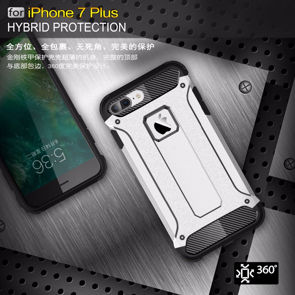 Johndan For Apple iPhone 7 Plus Case PC + Silicone Non-Slip Heavy Duty Protective Armor Case For iPhone7Plus Defend Cover Cases
