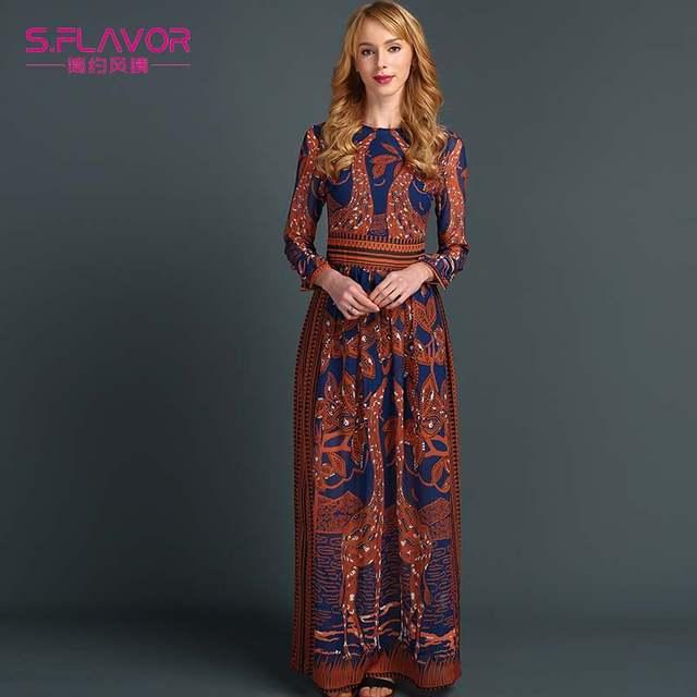 3a9910e27b70 placeholder S.FLAVOR Summer Spring Fashion Women Long Dress Chiffon Long  sleeve Print Maxi Dress Elegant