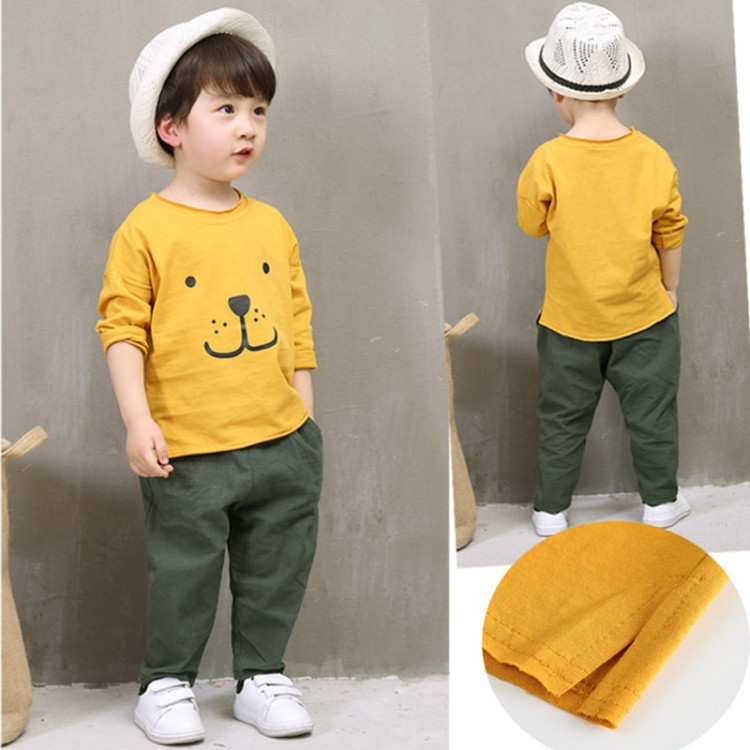 spring autumn 2-11 years old child tops baby Bear print t shirt pants sets children clothes boys girls sets kid clothing sets 2017 new cartoon pants brand baby cotton embroider pants baby trousers kid wear baby fashion models spring and autumn 0 4 years