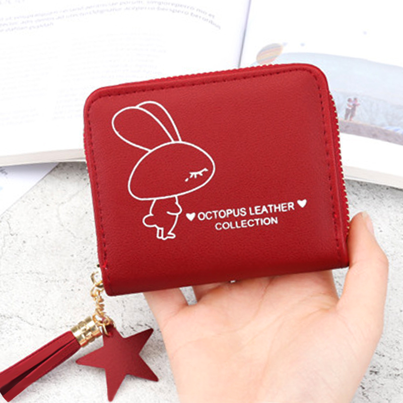 Coin Women Wallet Female Short Coin Purse Lady Tassels Small Student Purse Cute Wallet For 2019 New Card Print Zipper Wallets