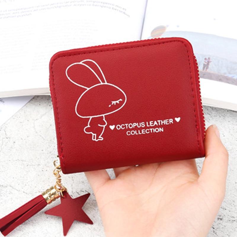 Coin Women Wallet Female Short Coin Purse Lady Tassels Small Student Purse Cute Wallet For 2019 New Card Print Zipper Wallets
