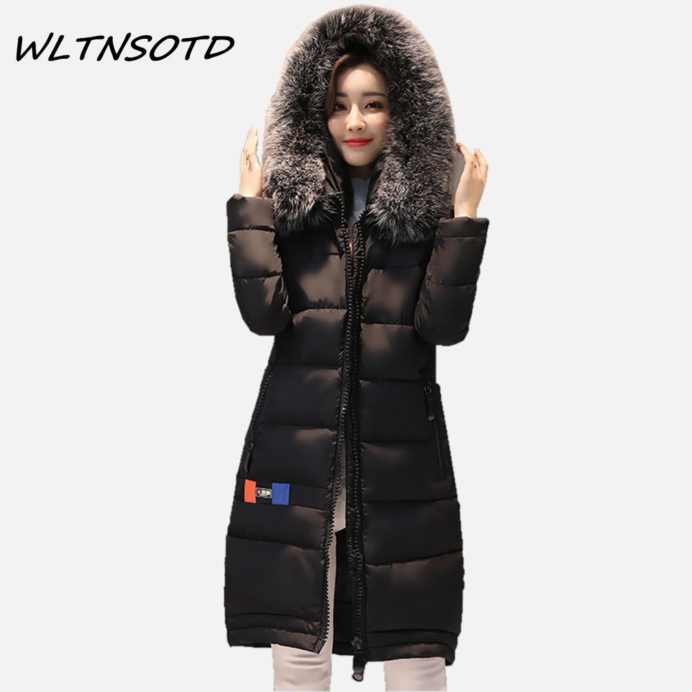 2017 winter new coat womens long Slim hooded large fur collar thick cotton warm jacket for female zipper pattern epaulet padded 2017 winter new coat womens long slim hooded large fur collar thick cotton warm jacket for female zipper pattern epaulet padded