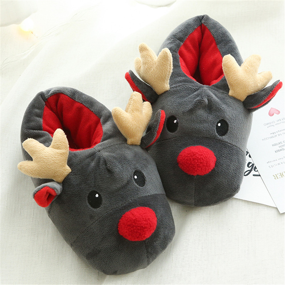 Cosplay Women Slippers Lovely deer Animal Prints Solid Flat Indoor Shoes Winter Plush Warm Home Slippers Christmas present