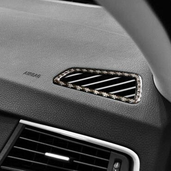 CNORICARC Carbon Fiber Dashboard Air Conditioning Outlet Frame Decoration Decals 2pcs For BMW 5 Series GT F07 2010-17