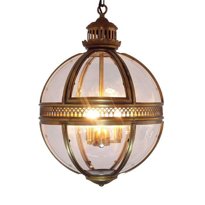 Vintage Loft Globe Pendant Lights Wrought Iron Glass Shade