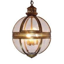 Винтаж Лофт Глобус подвесные светильники из кованого железа стеклянный абажур круглый светильник Кухня Столовая бар Настольный светильник приспособление подвесные лампы