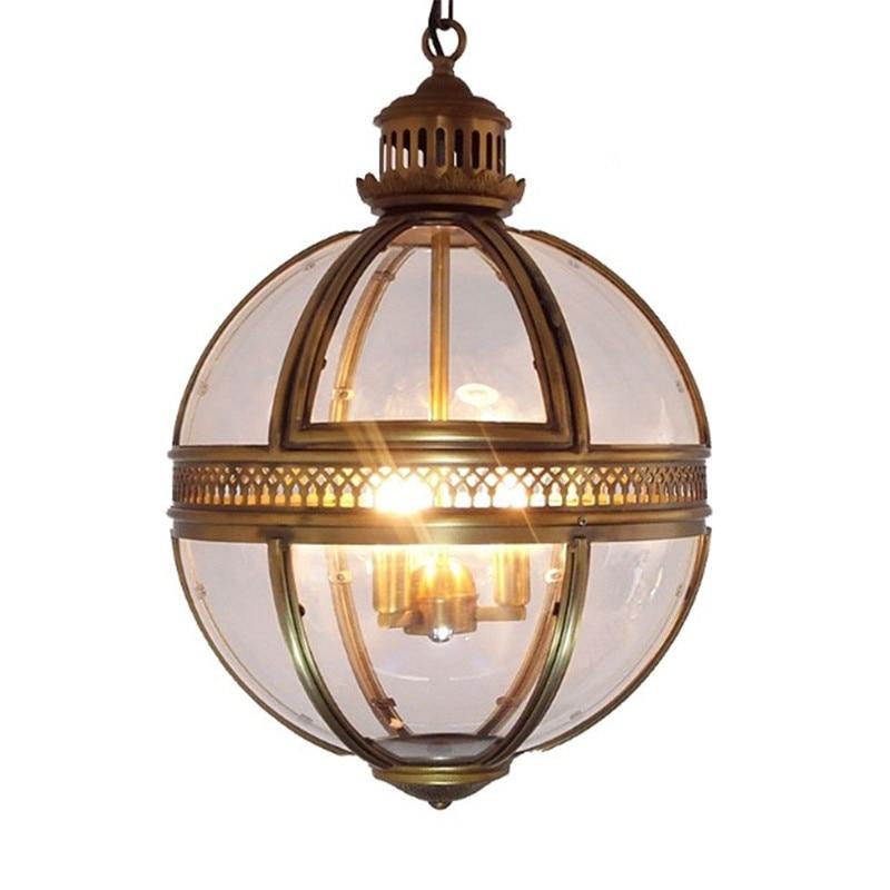 Vintage Loft Globe Pendant Lights Wrought Iron Glass Shade Round Lamp Kitchen Dinning Bar Table Luminaire Fixture Hanging Lamps