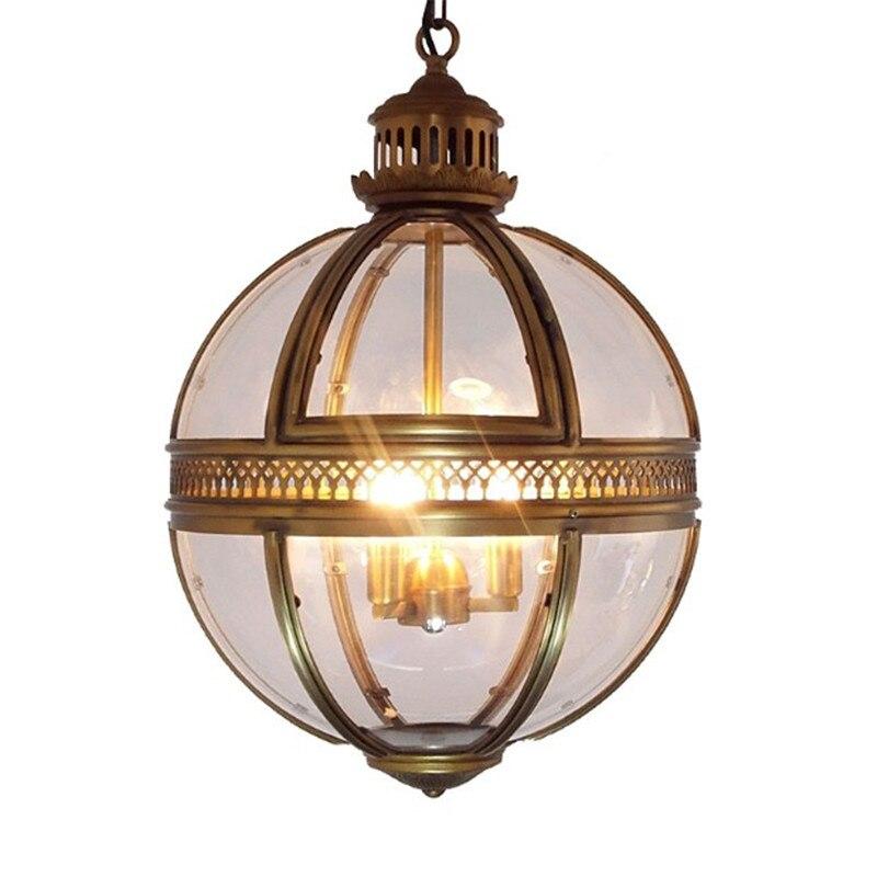 Vintage Loft Globe Pendentif Lumières En Fer Forgé Verre Ombre Ronde Lampe Cuisine Salle À Manger Bar Table Luminaire Luminaire Suspendu Lampes