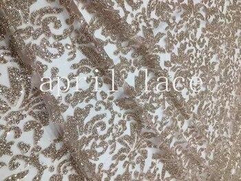 stock 5yards/bag AA1524 # champagne gold 64# glued glitter  print tulle net mesh flower fabric for wedding