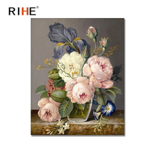 RIHE Rose Diy Painting By Numbers Elegant Flowers Oil Cuadros Decoracion Acrylic Paint On Canvas 2018 Modern Wall Art