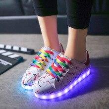 2016ผู้หญิงLedรองเท้าสำหรับผู้ใหญ่Light Upรองเท้าสบายๆเรืองแสงUsb S Choenen Met Lichtในตัวเรืองแสงแบรนด์หรูZapatos
