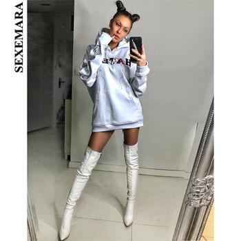 SEXEMARA Streetwear Oversized Hoodies Pullover White Letter Print Women Sweatshirt Kpop Clothes Long Coat Spring 2019 C70-AH45 strength training