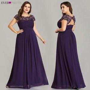 Image 3 - Ever Pretty Plus rozmiar suknie wieczorowe 2020 New Arrival elegancka linia szyfonowa bez pleców długa koronka formalne sukienki na przyjęcie EP09993