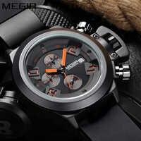 Relogio Masculino Megir แบรนด์หรูนาฬิกาข้อมือผู้ชายนาฬิกาซิลิโคนสีดำสไตล์แฟชั่น Chronograph Sport Quartz นาฬิกาผู้ชายสีขาว