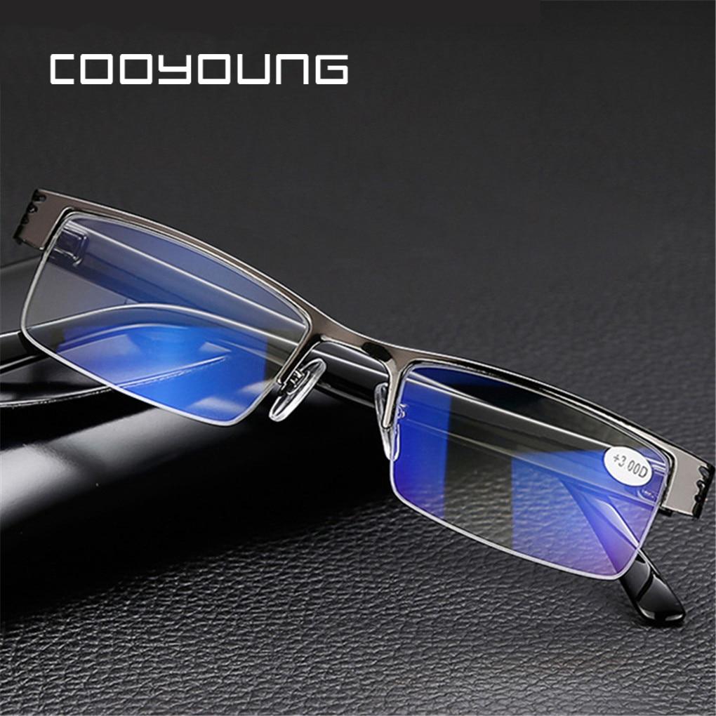 Men Women Titanium Alloy Blue Film Resin Reading Glasses Prescription Eyeglasses +1.00 1.50 2.00 2.50 3.00 3.50 4.00 Diopter