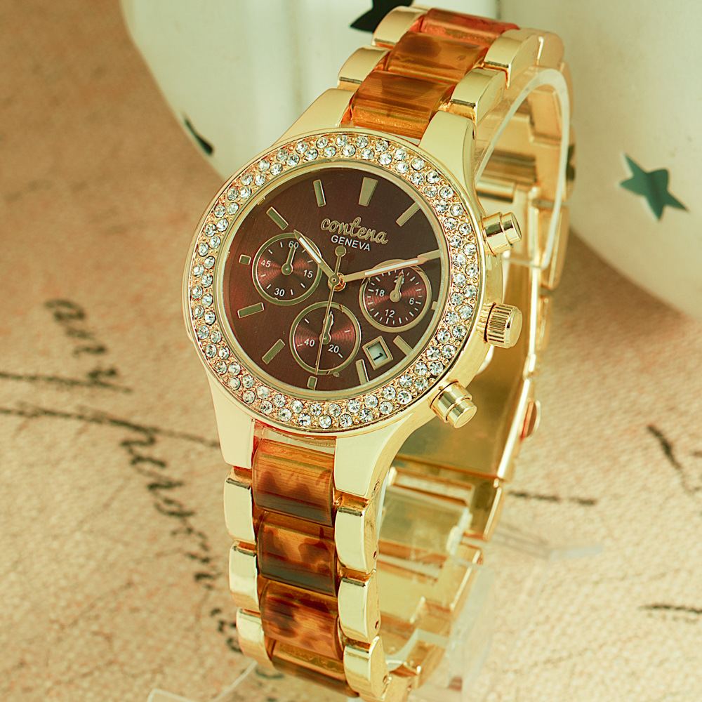 CONTENA Watch Top Brand Luxury Rhinestone Watch Women Watches Auto Date Ladies Watch Clock saat montre femme relogio feminino luxury full diamond watch women watches rhinestone bling women s watches ladies watch clock saat relogio feminino montre femme