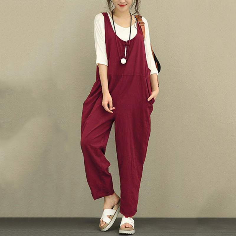 EaseHut Large Sizes Rompers Women's Jumpsuit 2019 Summer Autumn Backless Pockets Wide Leg Long Pants Linen Overalls For Women