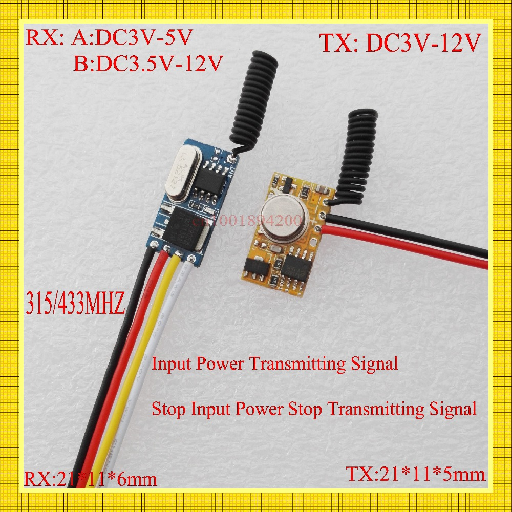 315/433MHZ Mini Remote Control Switch Micro Receiver Transmitter Module DC3V-12V Remote DC3.5v-12v Receiver3.7V 4.5V 5V6V9V RXTX dc24v remote control switch system1receiver